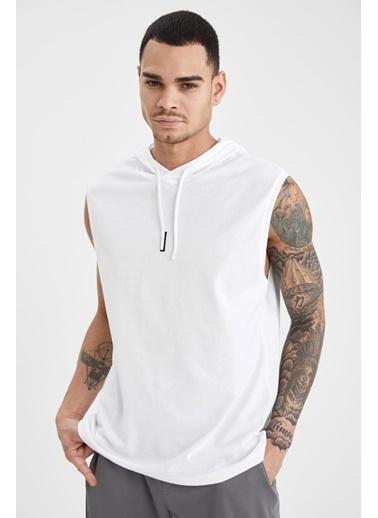 DeFacto Slim Fit Baskılı Kapüşonlu Kolsuz T-shirt Beyaz